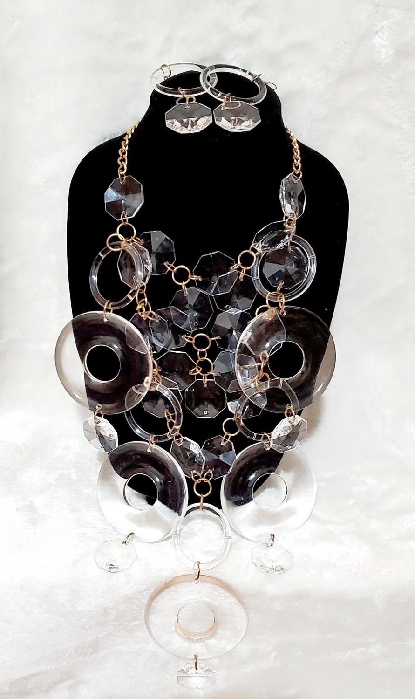 Circle Sizing Necklace Earring Set