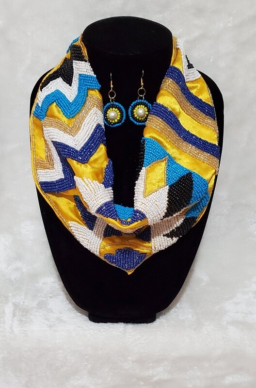 Scarf Tie Beaded Necklace/Earring Set