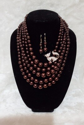 Foxy Brown Beaded Necklace/Earring Set