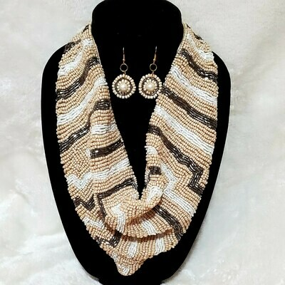 Scarf Tie Bead Necklace Set Gold/Ivory