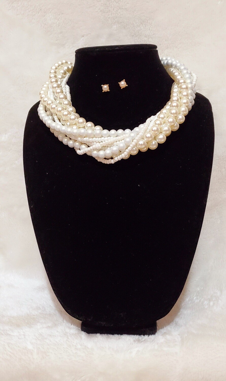 Pearl Necklace Choker Earring Set