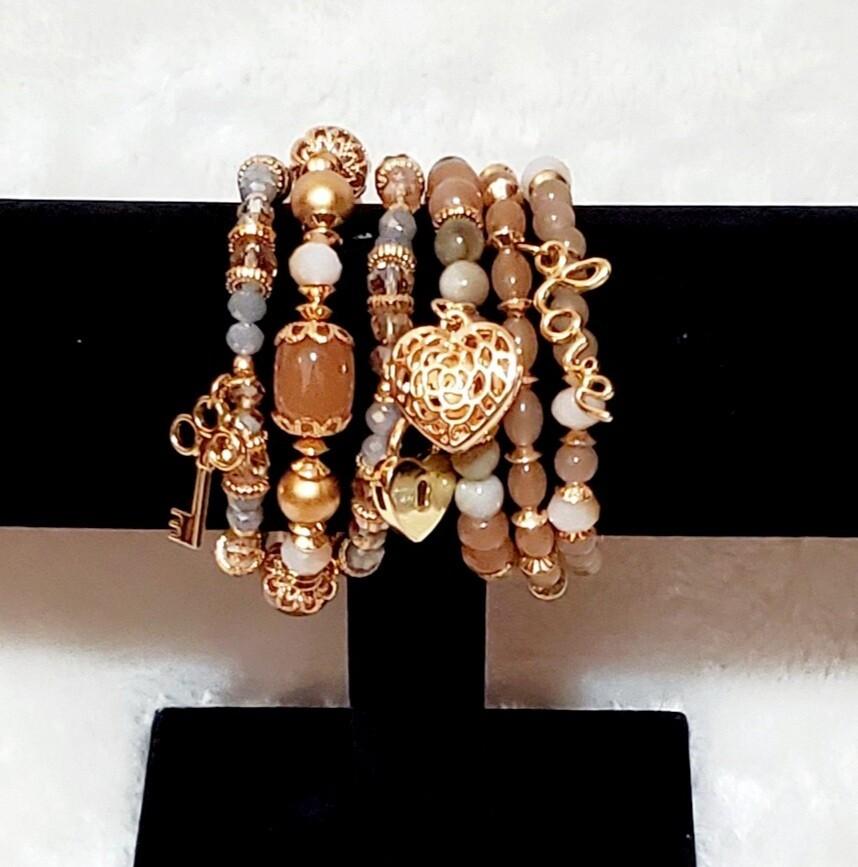 Gold/Bronze 6 Piece Bracelet Set