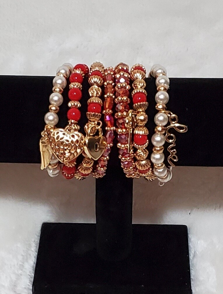 Gold/Red Bead 6 Piece Bracelet
