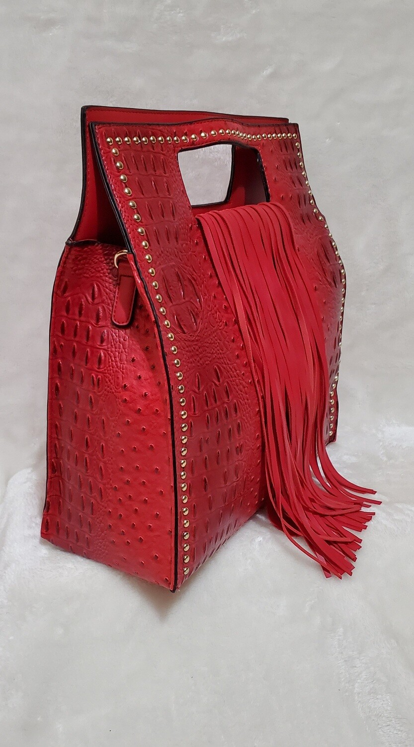 Red Fringe Tote/ Shoulder Pursenality