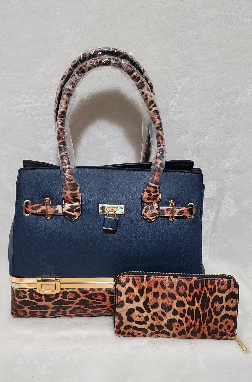Blu Midnight Leopard Print Handbag with Wallet