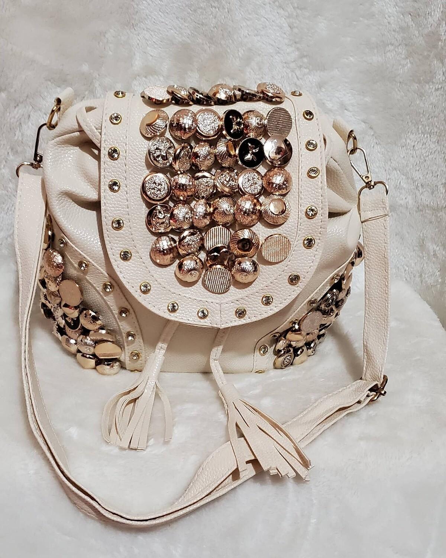 Cream Button Backpack/Crossbody