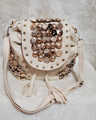 Cream Button Backpack/Crossbody
