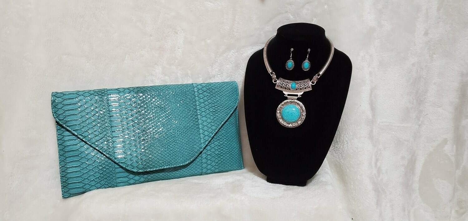 Turquoise Arm/ Wrist Clutch with Necklace/ Earring set