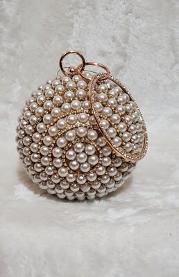 Pearl Crystal Ball Wristlet