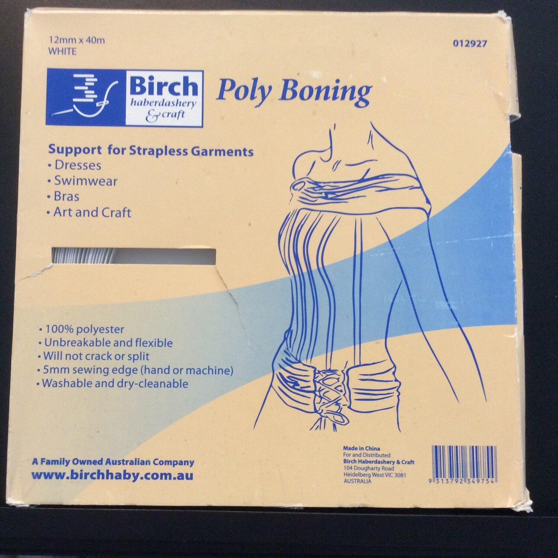Boning Poly 12mm White (012927) per metre
