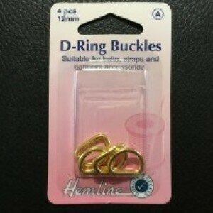 Hemline D-Ring Buckle 12mm Gold 4pkt (462G)