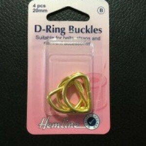 Hemline D-Ring Buckle 20mm Gold 4pkt (462G)