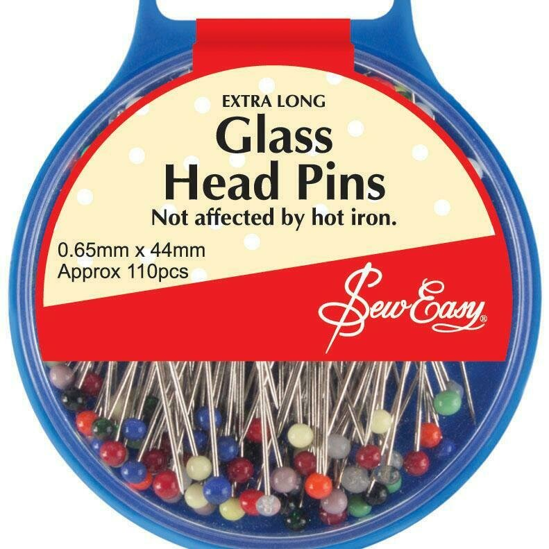 Sew Easy Glass Head Pins 110pc (ER679.L)