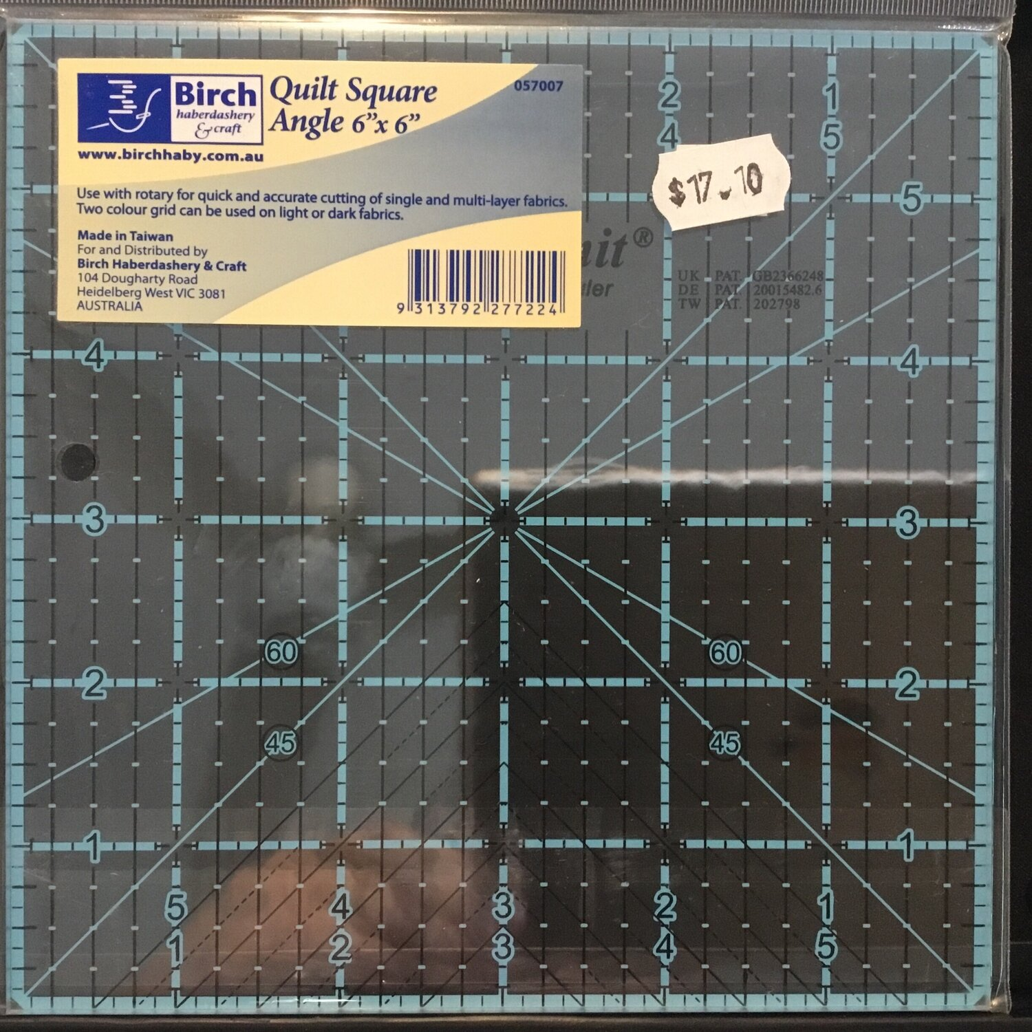 """Template Quilt Square Angle - 6"""" (057007)"""