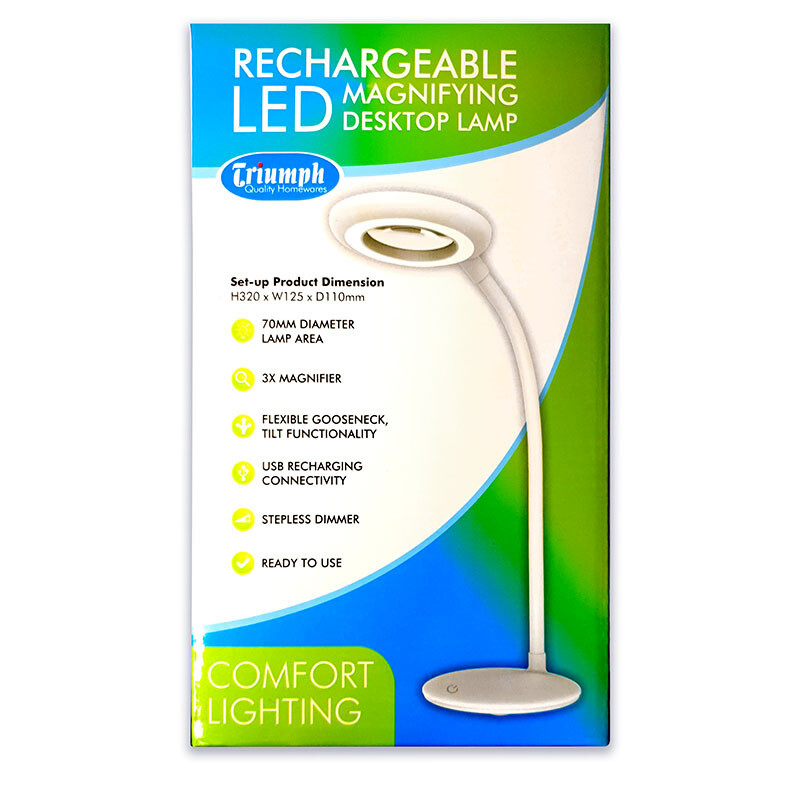Triumph LED Desktop Rechargable Lamp - White (OD200)