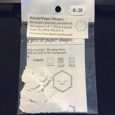 "Pre-Cut Paper Hexagon - 0.25"" (100)"