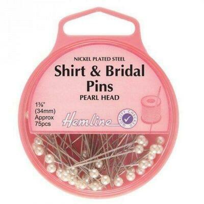 Hemline Shirt/Bridal Pearl Head Pins 75pc (676)