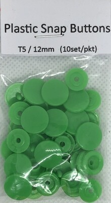 Plastic Snap Buttons T5/12mm (10set/pkt) Spring Green