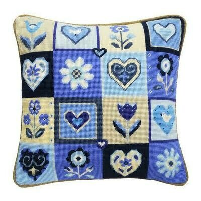 Jolly Red Hearts & Flowers Cushion