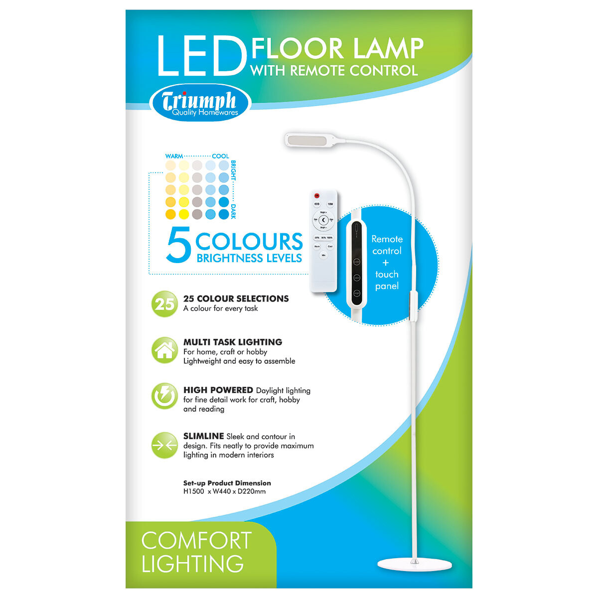 Triumph LED Dimmable Floor Lamp - White (ODU19A)