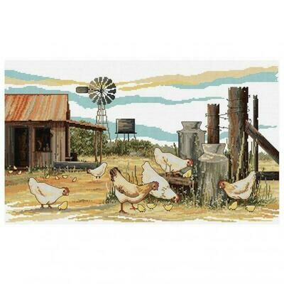 Country Threads Cross Stitch Kit - Chickens Scratching  (FJ1086)