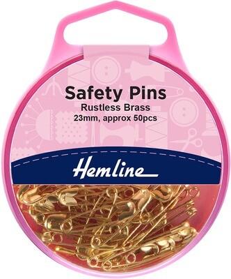 Hemline Brass Safety Pins Brass 23mm 50pkt (419.00)