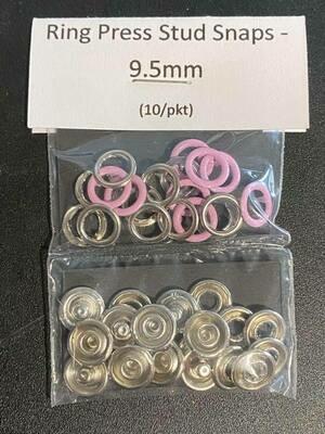 Ring Press Stud Snaps T3/9.5mm (10set/pkt) - Pink