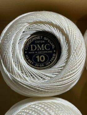 DMC Cordonnet #010 Cotton Blanc - White (Old stock)
