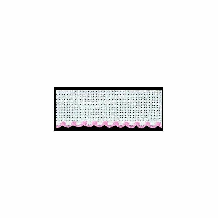 Aida Band 50mm per metre - White / Pink (7107.14)