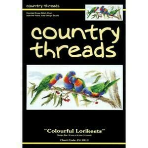 Country Threads Cross Stitch Pattern - Colourful Lorikeets