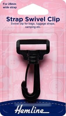Hemline Strap Swivel Clip 25mm Black (453.25)