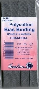 Bias Binding 12mm - Charcoal