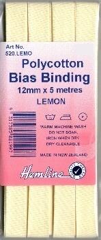 Bias Binding 12mm - Lemon