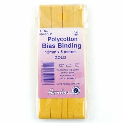 Bias Binding 12mm - Gold