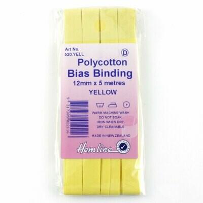 Bias Binding 12mm - Yellow