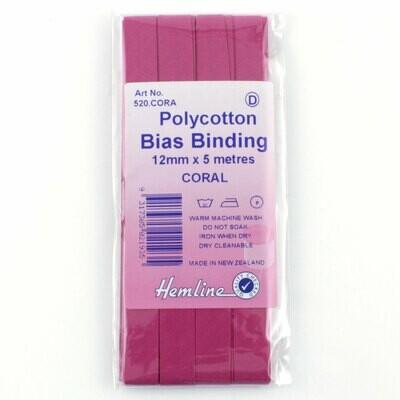 Bias Binding 12mm - Coral Pink