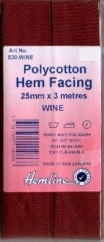 Bias Binding 25mm - Wine