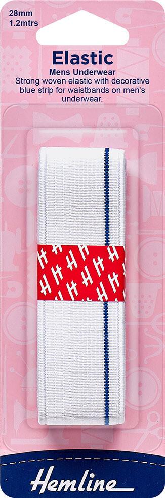 Braided Elastic 28mm Mens Underwear - White