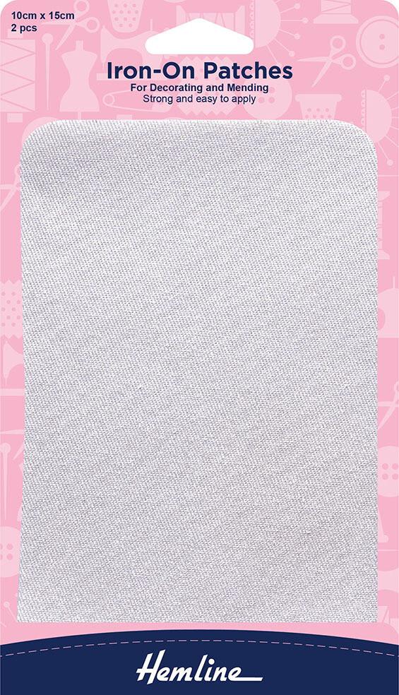 Hemline Iron-On Patches 2pkt - White (690.W)