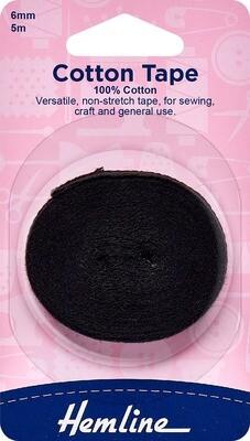 Hemline Cotton Tape 06mm - Black (541.6)