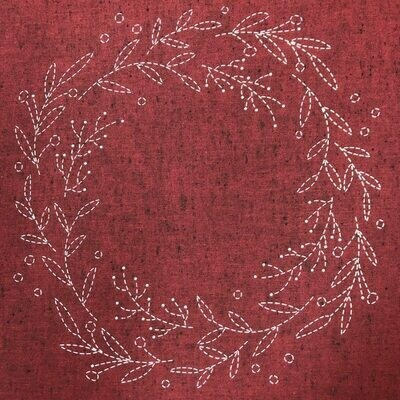 Sashiko Wreath Panel Pre-stencilled with Instructions - Red (SW-2003)