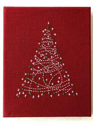 Sashiko Christmas Tree Panel Pre-stencilled - Red (SCT-1960)