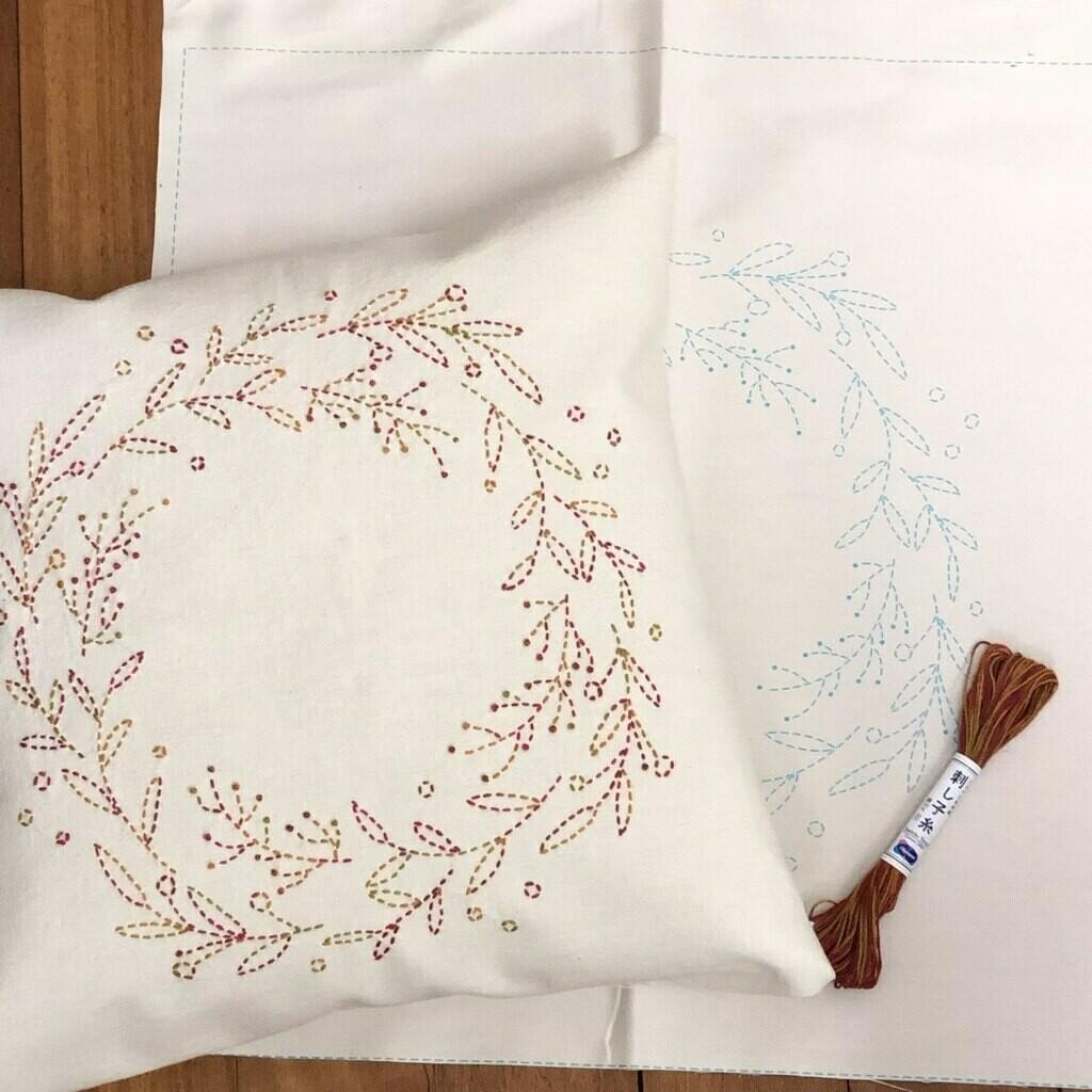 Sashiko Wreath Panel Pre-stencilled with Instructions - Ecru (SW-2)