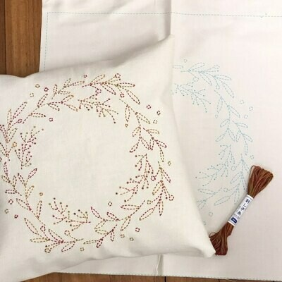 Sashiko Wreath Panel Pre-stencilled with Instructions - Ecru (SW-2)