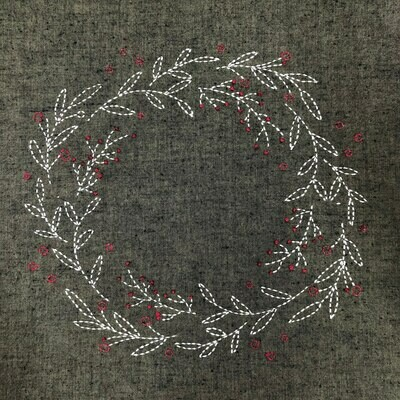 Sashiko Wreath Panel Pre-stencilled with Instructions - Moss Green (SW-2005)