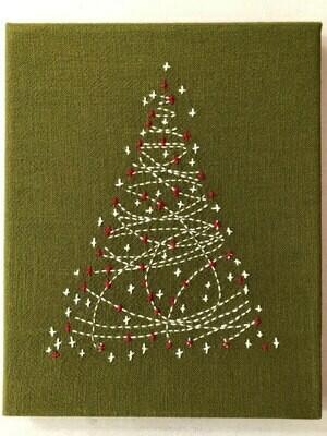 Sashiko Christmas Tree Panel Pre-stencilled - Green (SCT-1958)