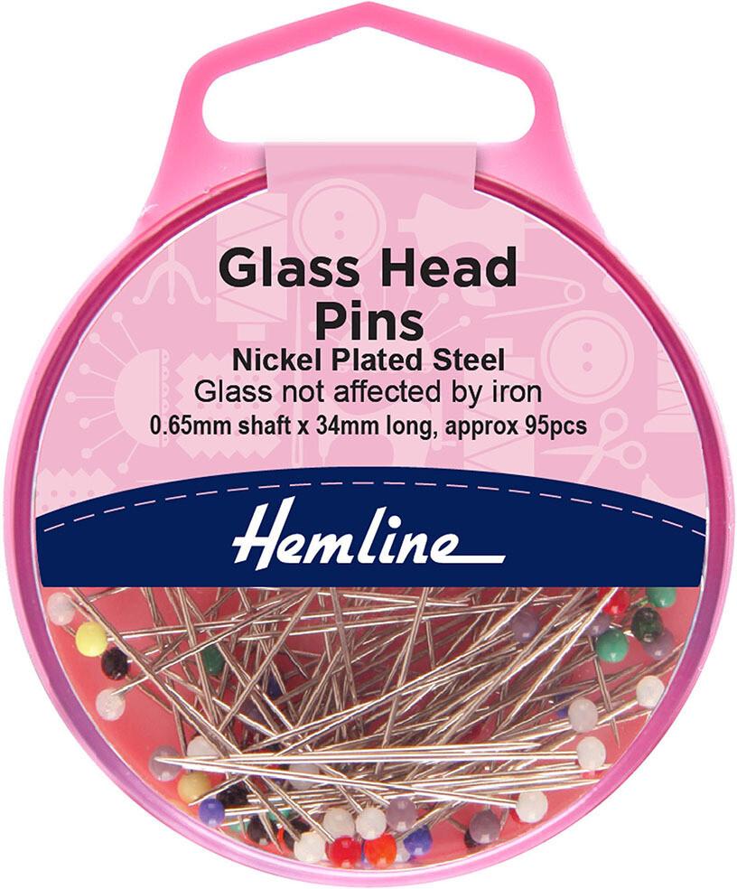 Hemline Glass Head Extra Long Pins 20gm 110pc (679.XL)