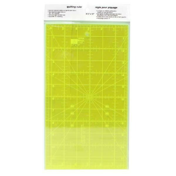 """Birch Quilt Fluoro Ruler - 6.5""""x12"""" (057046)"""