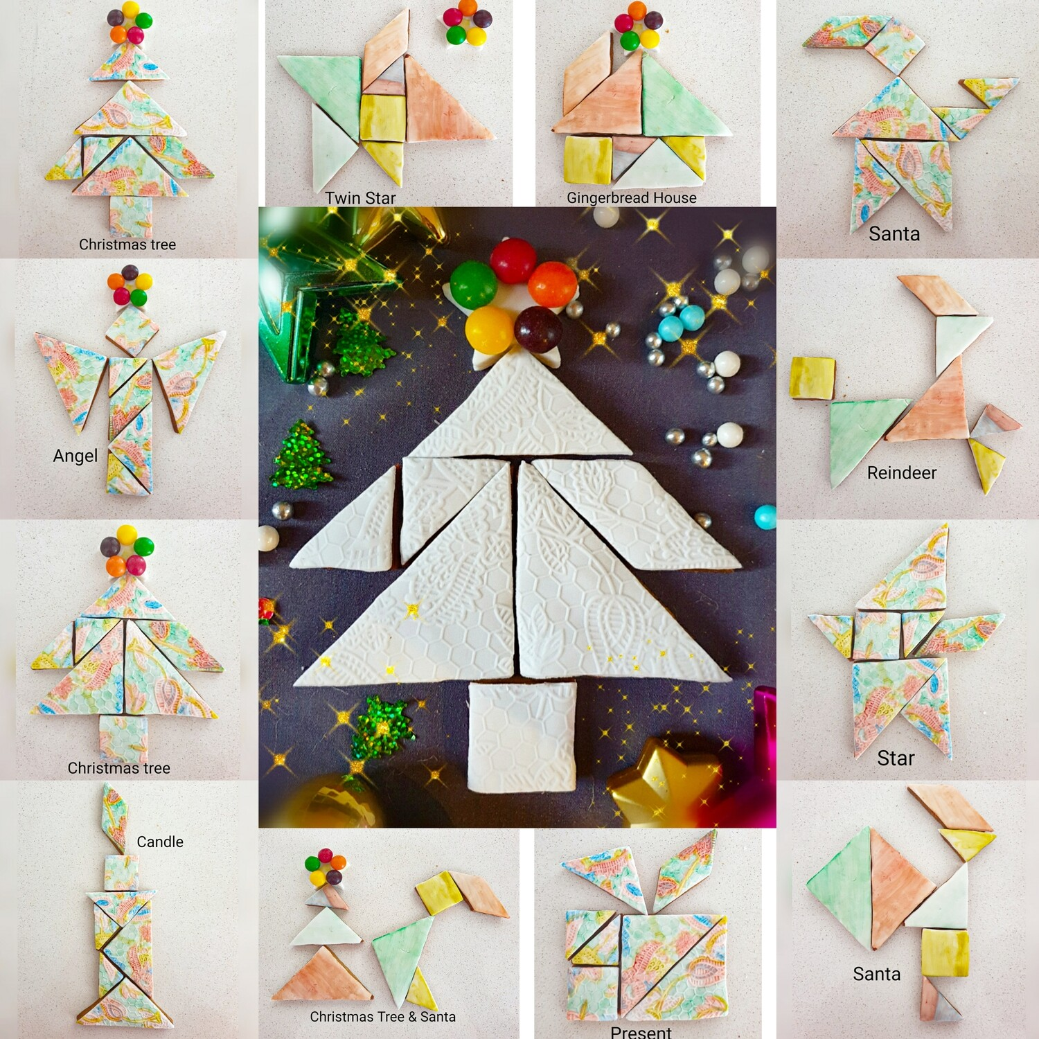 Christmas 12 in 1 Tangram Painting Cookies set