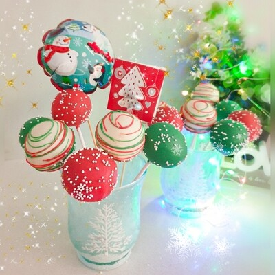 Christmas Cake Pops Glass set (pick up ONLY)